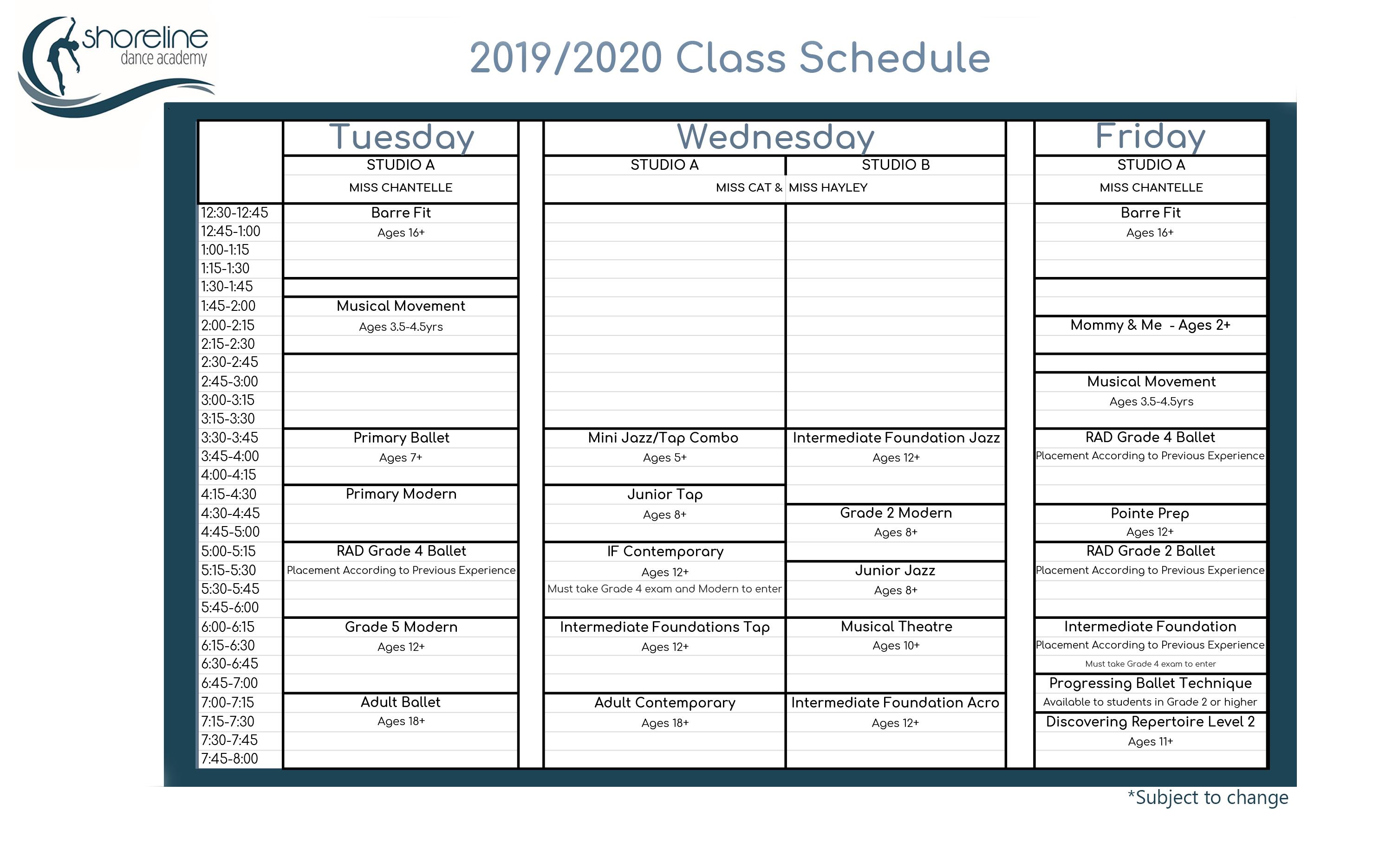 Powell River Dance studio schedule